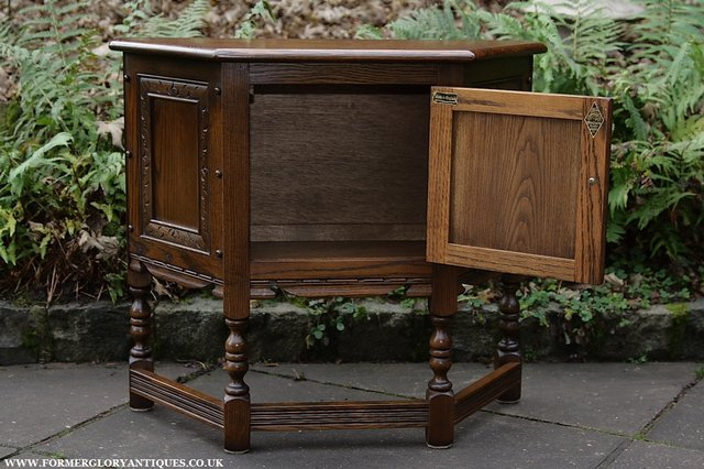Image 6 of OLD CHARM OAK CABINET LAMP HALL TABLE CUPBOARD SIDEBOARD
