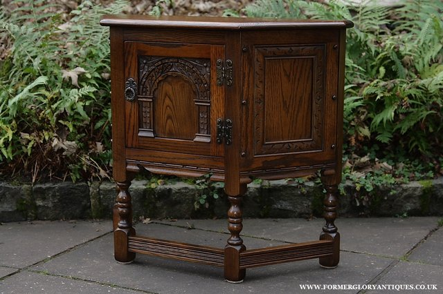 Image 10 of OLD CHARM OAK CABINET LAMP HALL TABLE CUPBOARD SIDEBOARD