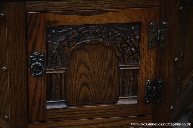 Image 16 of OLD CHARM OAK CABINET LAMP HALL TABLE CUPBOARD SIDEBOARD