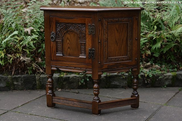 Image 17 of OLD CHARM OAK CABINET LAMP HALL TABLE CUPBOARD SIDEBOARD