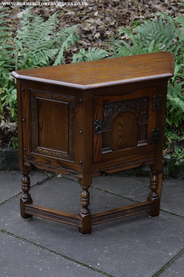 Image 20 of OLD CHARM OAK CABINET LAMP HALL TABLE CUPBOARD SIDEBOARD