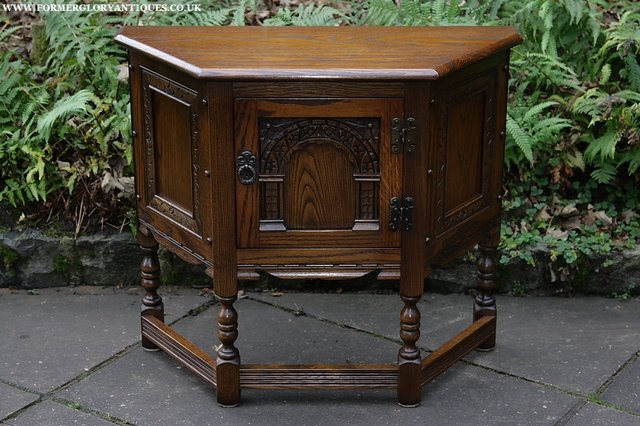 Image 21 of OLD CHARM OAK CABINET LAMP HALL TABLE CUPBOARD SIDEBOARD