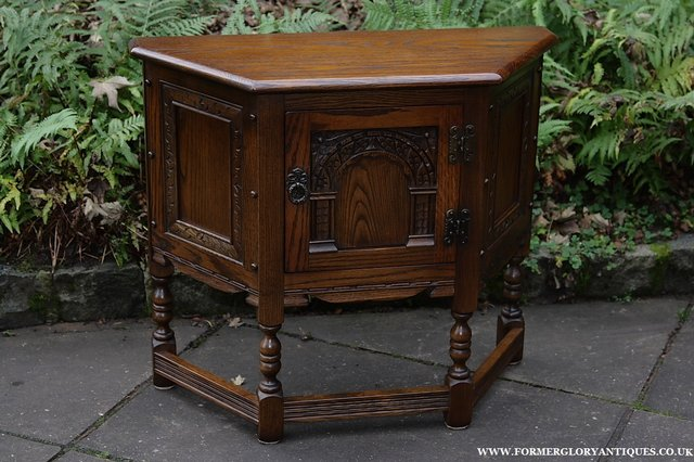 Image 27 of OLD CHARM OAK CABINET LAMP HALL TABLE CUPBOARD SIDEBOARD