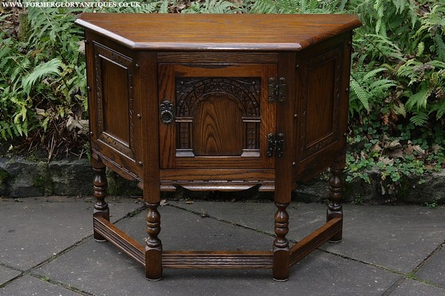 Image 30 of OLD CHARM OAK CABINET LAMP HALL TABLE CUPBOARD SIDEBOARD