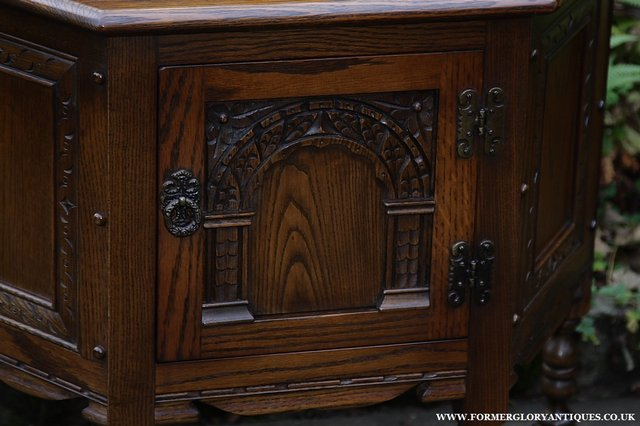 Image 31 of OLD CHARM OAK CABINET LAMP HALL TABLE CUPBOARD SIDEBOARD