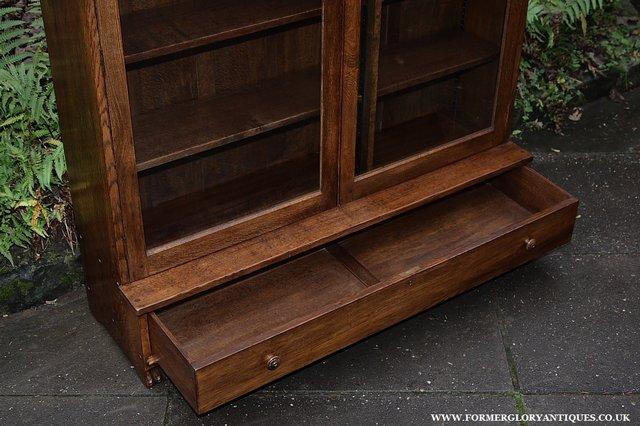 Image 3 of NIGEL GRIFFITHS SOLID OAK BOOKCASE CABINET SHELVES CUPBOARD