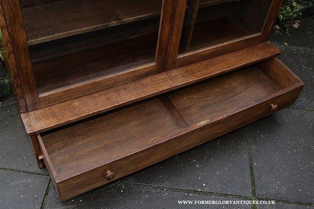 Image 9 of NIGEL GRIFFITHS SOLID OAK BOOKCASE CABINET SHELVES CUPBOARD
