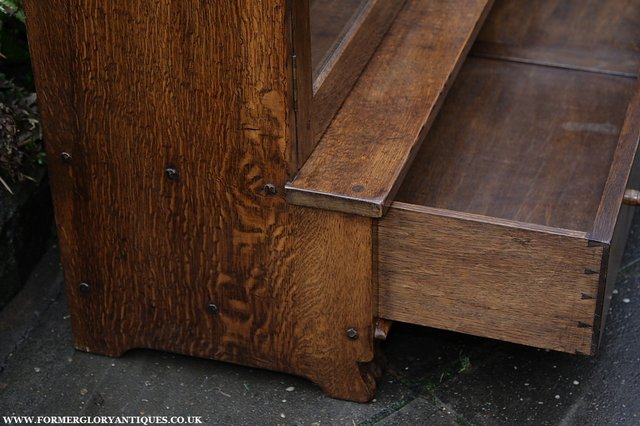 Image 11 of NIGEL GRIFFITHS SOLID OAK BOOKCASE CABINET SHELVES CUPBOARD