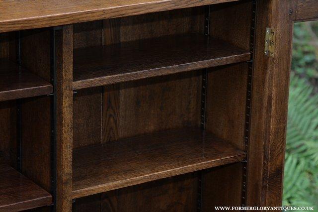 Image 14 of NIGEL GRIFFITHS SOLID OAK BOOKCASE CABINET SHELVES CUPBOARD