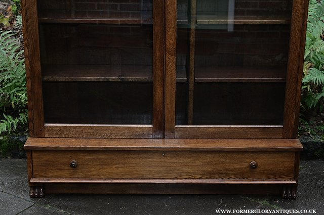 Image 29 of NIGEL GRIFFITHS SOLID OAK BOOKCASE CABINET SHELVES CUPBOARD