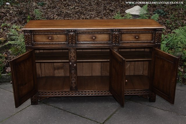 Image 10 of TITCHMARSH AND GOODWIN STYLE OAK SIDEBOARD DRESSER BASE