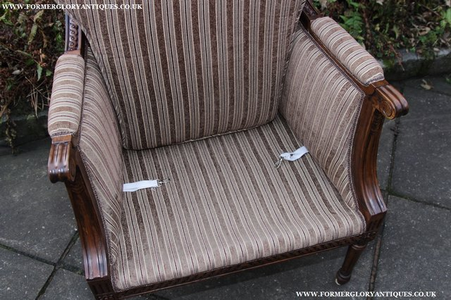 Image 5 of A FRENCH LOUIS MAHOGANY STYLE UPHOLSERED READING ARMCHAIR.