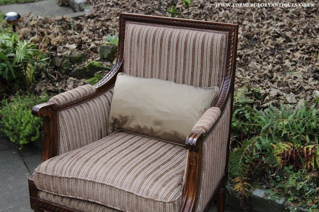 Image 8 of A FRENCH LOUIS MAHOGANY STYLE UPHOLSERED READING ARMCHAIR.