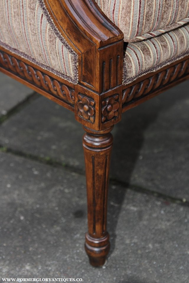 Image 10 of A FRENCH LOUIS MAHOGANY STYLE UPHOLSERED READING ARMCHAIR.