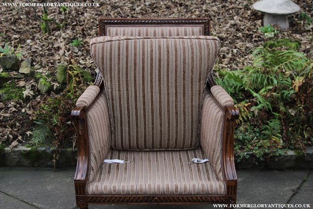 Image 13 of A FRENCH LOUIS MAHOGANY STYLE UPHOLSERED READING ARMCHAIR.