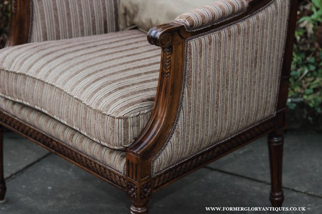 Image 14 of A FRENCH LOUIS MAHOGANY STYLE UPHOLSERED READING ARMCHAIR.