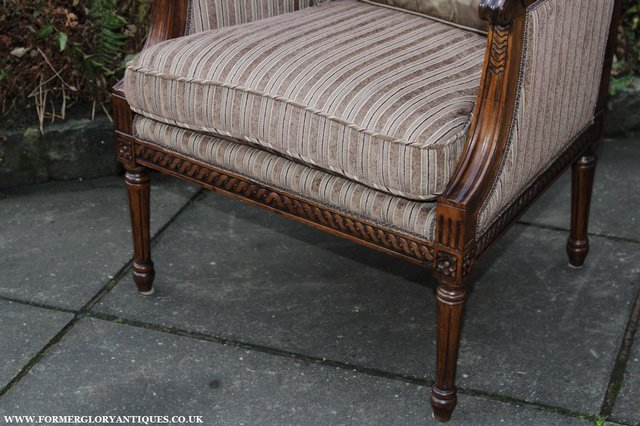Image 15 of A FRENCH LOUIS MAHOGANY STYLE UPHOLSERED READING ARMCHAIR.