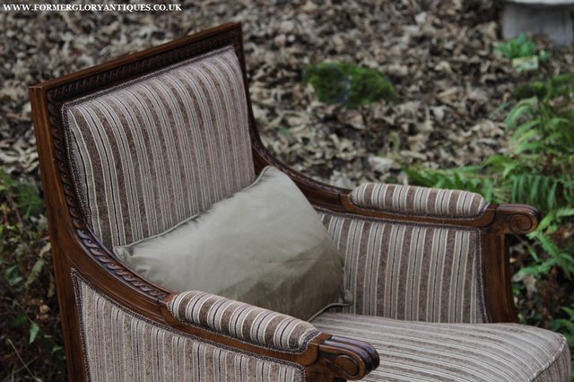 Image 17 of A FRENCH LOUIS MAHOGANY STYLE UPHOLSERED READING ARMCHAIR.