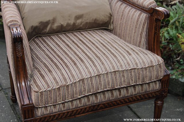 Image 18 of A FRENCH LOUIS MAHOGANY STYLE UPHOLSERED READING ARMCHAIR.