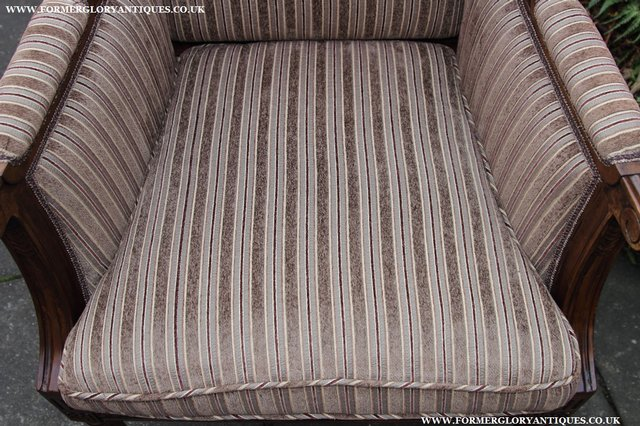 Image 19 of A FRENCH LOUIS MAHOGANY STYLE UPHOLSERED READING ARMCHAIR.