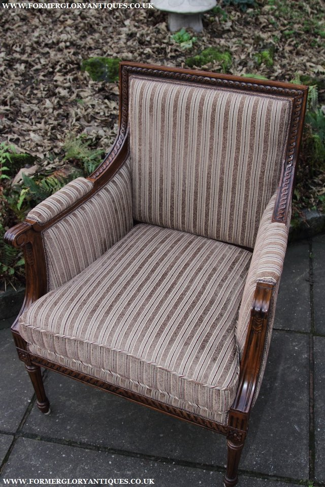 Image 21 of A FRENCH LOUIS MAHOGANY STYLE UPHOLSERED READING ARMCHAIR.