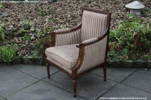 Image 22 of A FRENCH LOUIS MAHOGANY STYLE UPHOLSERED READING ARMCHAIR.