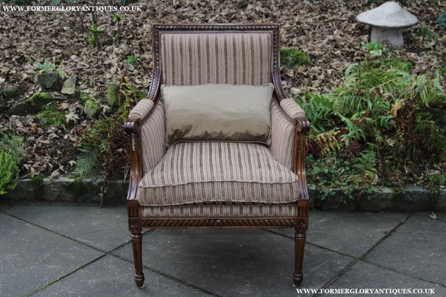 Image 23 of A FRENCH LOUIS MAHOGANY STYLE UPHOLSERED READING ARMCHAIR.