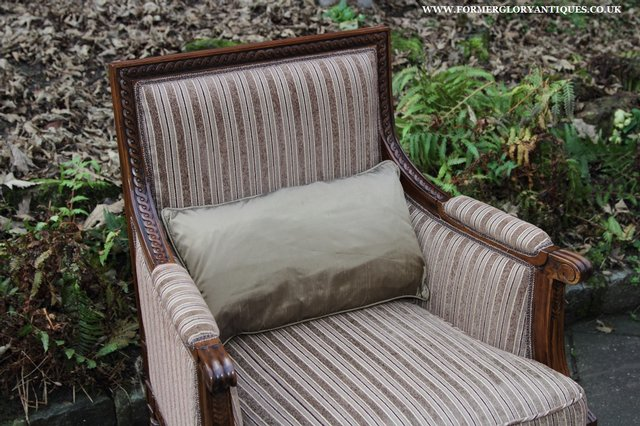 Image 24 of A FRENCH LOUIS MAHOGANY STYLE UPHOLSERED READING ARMCHAIR.