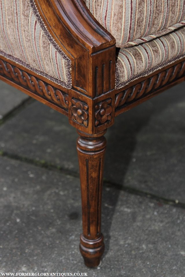 Image 27 of A FRENCH LOUIS MAHOGANY STYLE UPHOLSERED READING ARMCHAIR.