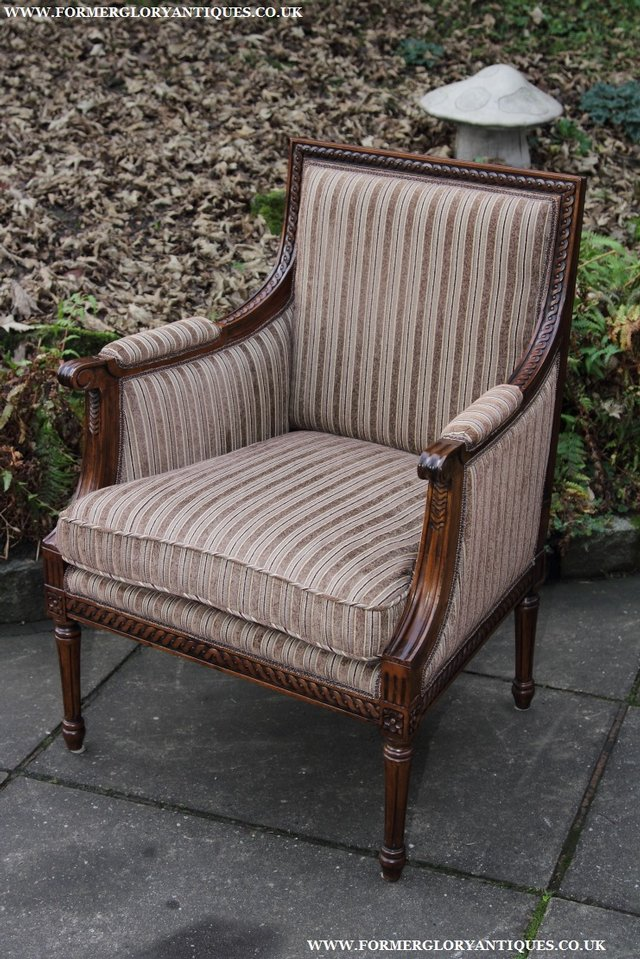 Image 29 of A FRENCH LOUIS MAHOGANY STYLE UPHOLSERED READING ARMCHAIR.
