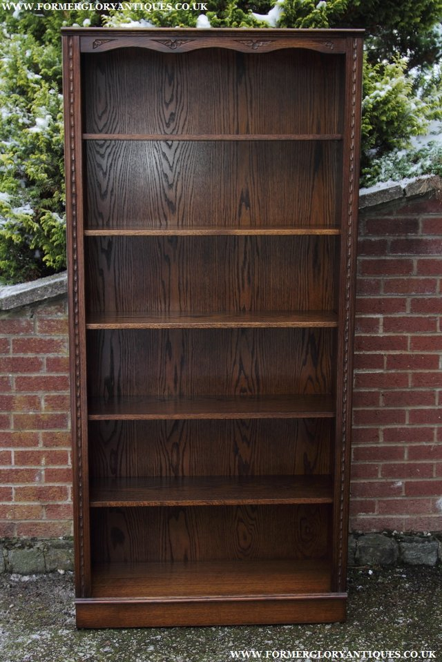Preview of the first image of JAYCEE OLD CHARM OAK BOOKCASE WALL OFFICE OPEN BOOK SHELVES.
