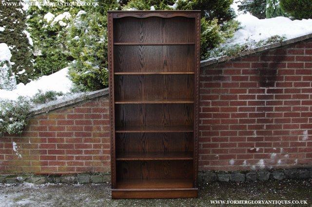 Image 2 of JAYCEE OLD CHARM OAK BOOKCASE WALL OFFICE OPEN BOOK SHELVES