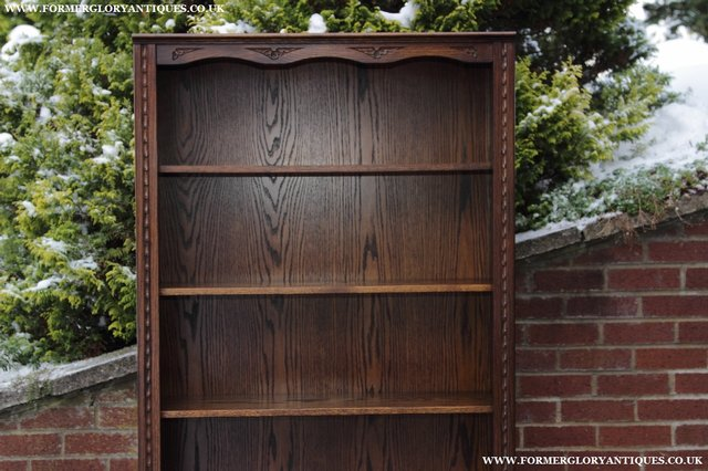 Image 11 of JAYCEE OLD CHARM OAK BOOKCASE WALL OFFICE OPEN BOOK SHELVES