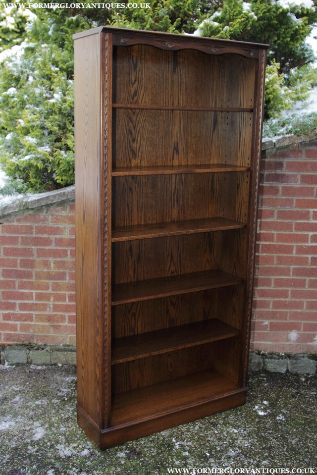 Image 12 of JAYCEE OLD CHARM OAK BOOKCASE WALL OFFICE OPEN BOOK SHELVES