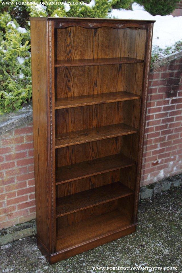 Image 15 of JAYCEE OLD CHARM OAK BOOKCASE WALL OFFICE OPEN BOOK SHELVES