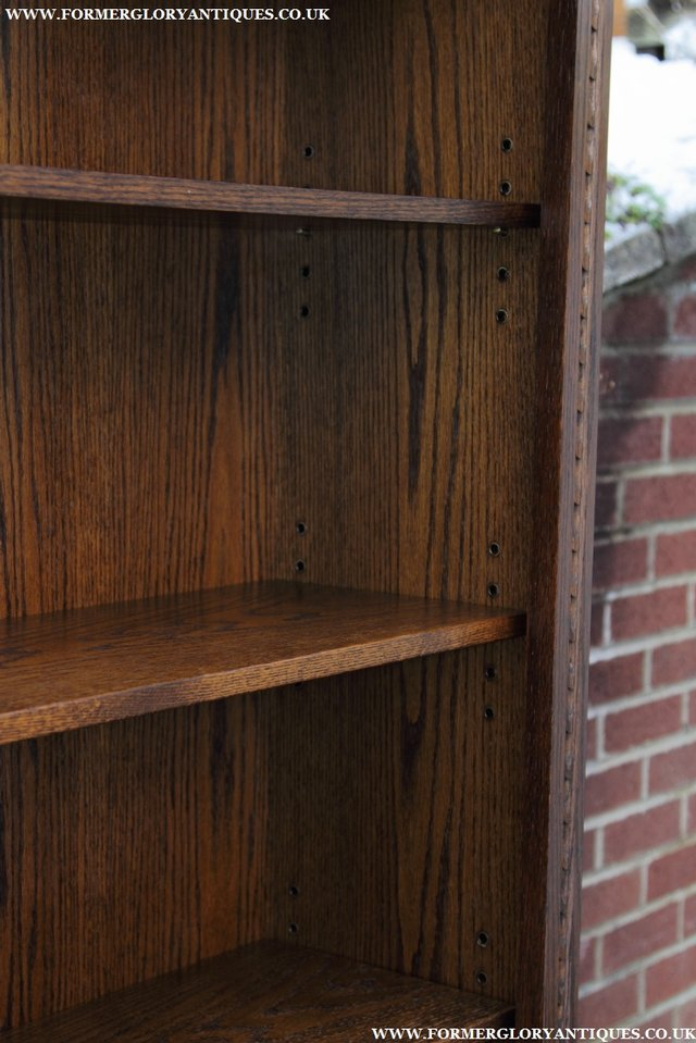 Image 16 of JAYCEE OLD CHARM OAK BOOKCASE WALL OFFICE OPEN BOOK SHELVES