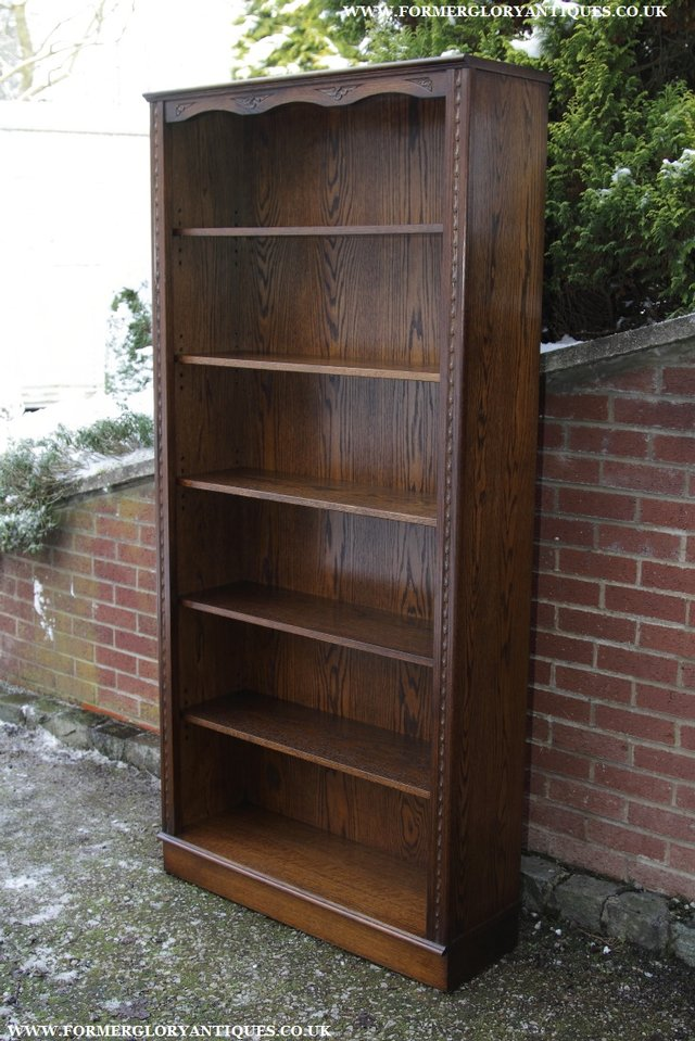 Image 19 of JAYCEE OLD CHARM OAK BOOKCASE WALL OFFICE OPEN BOOK SHELVES