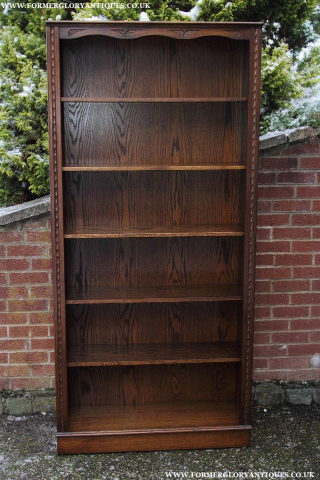 Image 22 of JAYCEE OLD CHARM OAK BOOKCASE WALL OFFICE OPEN BOOK SHELVES