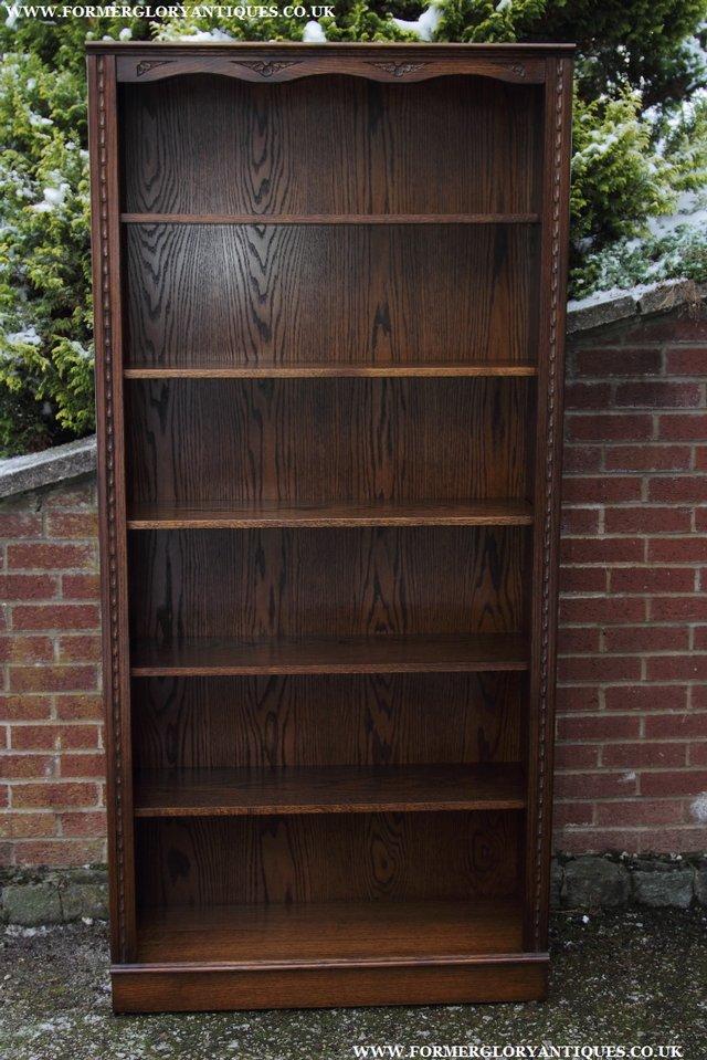 Image 33 of JAYCEE OLD CHARM OAK BOOKCASE WALL OFFICE OPEN BOOK SHELVES