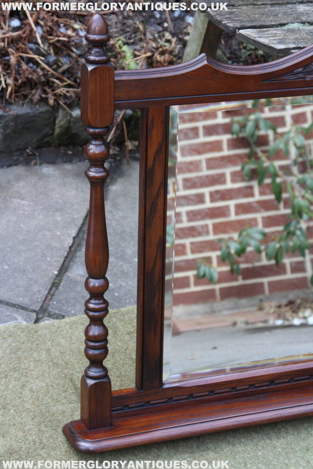 Image 4 of OLD CHARM OAK OVERMANTEL FIRE SURROUND SIDEBOARD HALL MIRROR