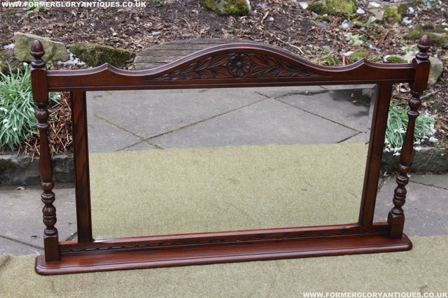 Image 5 of OLD CHARM OAK OVERMANTEL FIRE SURROUND SIDEBOARD HALL MIRROR