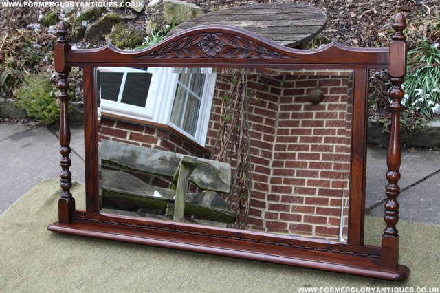 Image 17 of OLD CHARM OAK OVERMANTEL FIRE SURROUND SIDEBOARD HALL MIRROR
