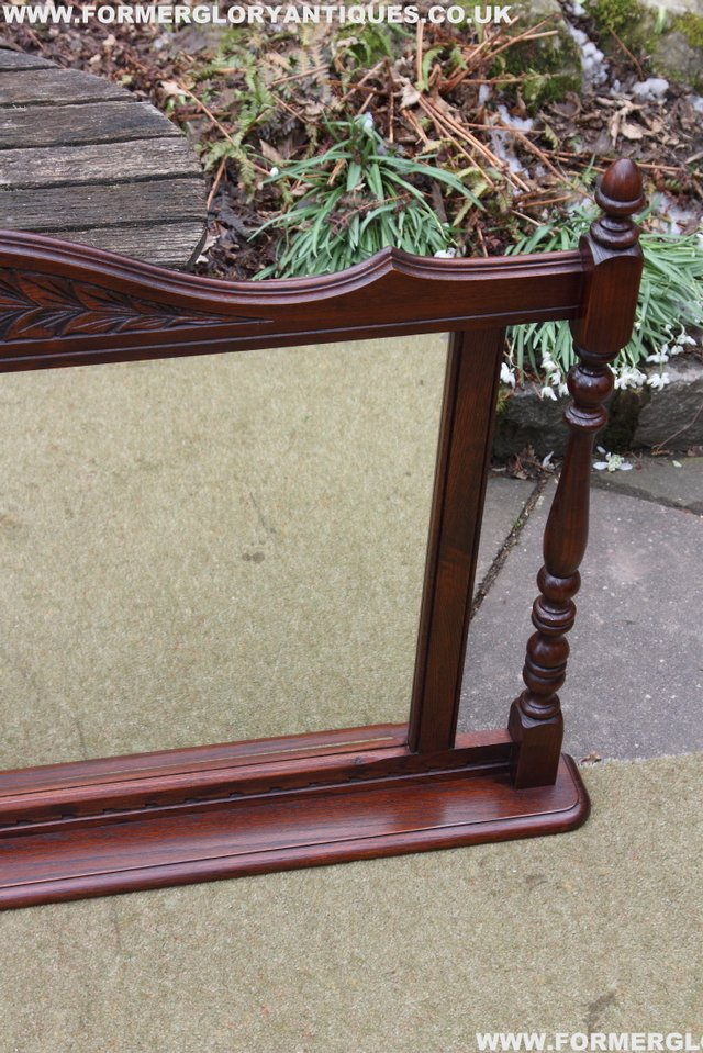 Image 20 of OLD CHARM OAK OVERMANTEL FIRE SURROUND SIDEBOARD HALL MIRROR