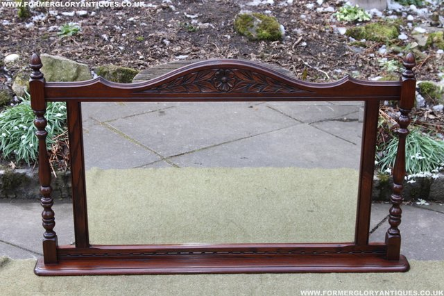 Image 25 of OLD CHARM OAK OVERMANTEL FIRE SURROUND SIDEBOARD HALL MIRROR