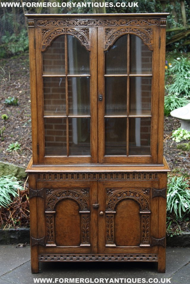 Image 18 of TITCHMARSH GOODWIN STYLE BOOKCASE DISPLAY CABINET CUPBOARD