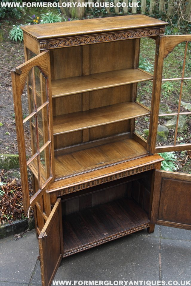 Image 19 of TITCHMARSH GOODWIN STYLE BOOKCASE DISPLAY CABINET CUPBOARD