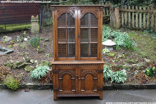 Image 22 of TITCHMARSH GOODWIN STYLE BOOKCASE DISPLAY CABINET CUPBOARD