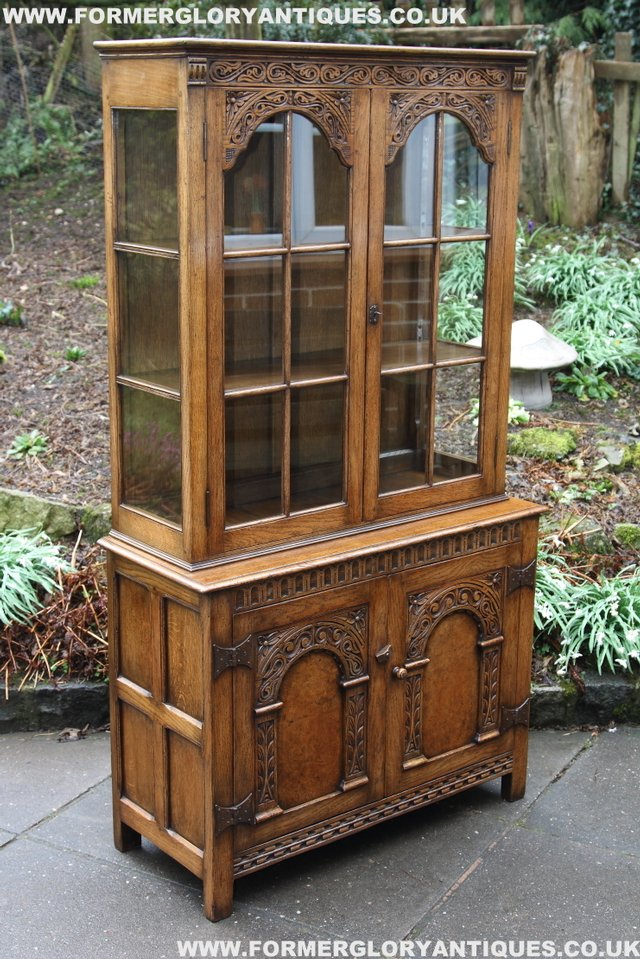 Image 29 of TITCHMARSH GOODWIN STYLE BOOKCASE DISPLAY CABINET CUPBOARD