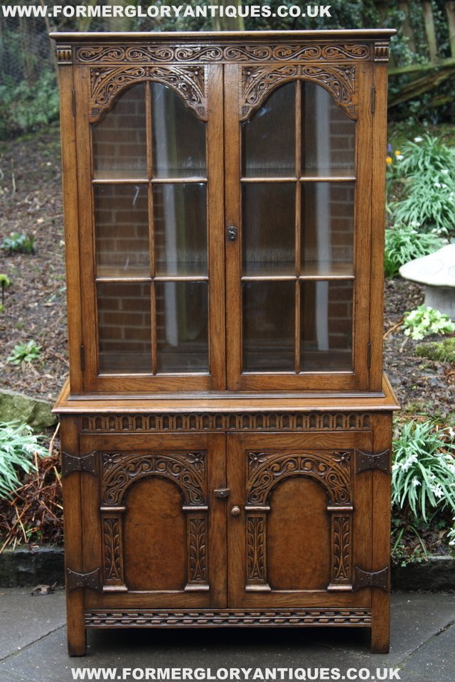Image 31 of TITCHMARSH GOODWIN STYLE BOOKCASE DISPLAY CABINET CUPBOARD