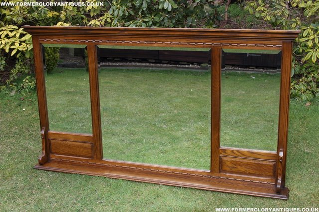 Image 2 of OLD CHARM OAK OVERMANTEL FIRE SURROUND SIDEBOARD HALL MIRROR
